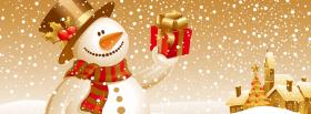 free snowman and present christmas facebook cover