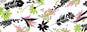 free black and pink flowers facebook cover