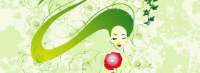 free green woman pink flower facebook cover