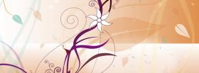 free white drawed flower creative facebook cover