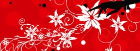 free white flowers with red facebook cover