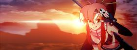 free sunset girl anime manga facebook cover