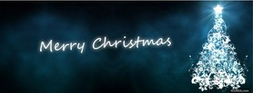 free Merry Christmas Blue Tree facebook cover